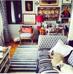 Madeline Weinribs Cotton Sapphire Haveli carpet in Designer Sig Bergamin's home
