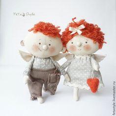 Купить Два Рыжих Ангела Куклы текстильные - ангел, ангелы, ангел в подарок