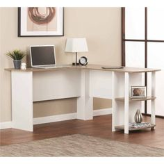 L-Shaped Desk with Side Storage, Multiple Finishes - Walmart.com