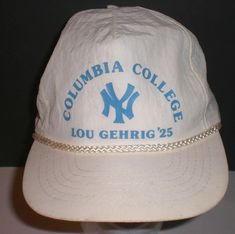 b91698d9cb1e4 Lou Gehrig  25 Columbia College Cap Hat New York Yankees NY Snapback White   Columbia