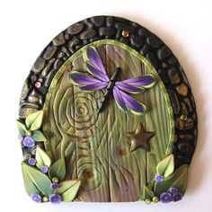 polymerclay,  Dragonfly Fairy Door Pixie Portal by Claybykim on Etsy
