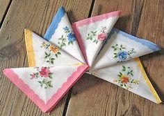 Vintage Hankies Set of 6 Floral Cotton Hankies by CathiesHankies