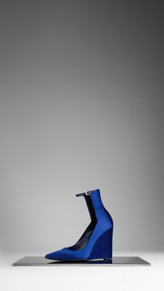 High-Cuff Satin Wedge Pumps | Burberry