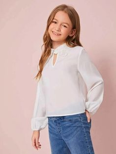 Girls Cut Out Front Guipure Lace Collar Top – Kidenhouse Cute Little Girls Outfits, Kids Outfits, Peter Pan Collar Top, Girls Cuts, Girls Dresses Online, Cute Young Girl, Girls Blouse, Tween Fashion, Lace Collar