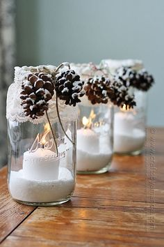 Snowy Pinecone Candle Jar Luminaries @amandaformaro Crafts by Amanda