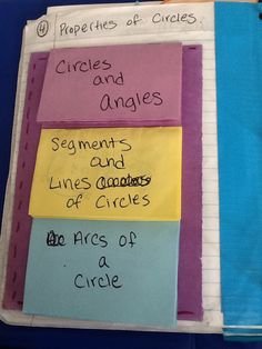 Pg 4. Properties of Circles   We began with taking a half sheet of construction paper and glueing down a pocket. The pocket is used for the ...