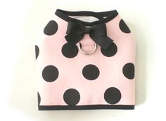 Pink Black Dots Pet Dog Apperal Clothing Coat Harness Vest Small