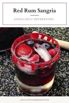 Red Rum Sangria Recipe. A ghoulishly refreshing Halloween cocktail recipe is SO yummy and a fun cocktail idea to serve at your Halloween party. Halloween Cocktails, Halloween Party, Halloween Recipe, Halloween Desserts, Halloween 2019, Halloween Stuff, Halloween Treats, Halloween