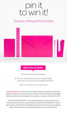PINTEREST IS GREAT Pin it to Win it! October's #PoppinPink Contest