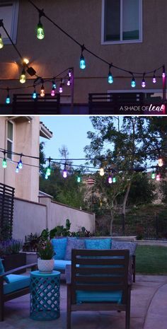 How to Easily add Patio Lighting Anywhere! Using Enbrighten Seasons Color Changing Café Lights. Patio Lighting, Light Project, Season Colors, Color Change, Backyard, Seasons, Lights, Table Decorations, Outdoor Decor