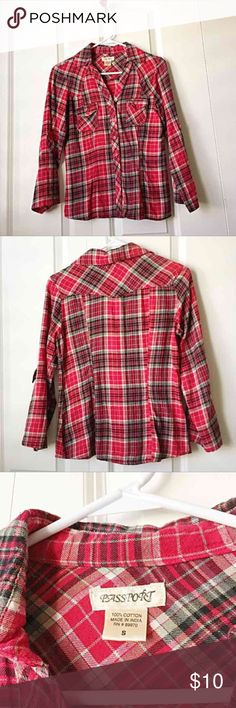 Flannel plaid fitted shirt Bright red & black plaid shirt. Button front with two front pockets. Sleeves can be worn down or rolled up. Gently worn but still looks great. Passport Tops Button Down Shirts