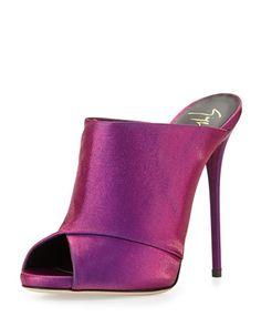 Giuseppe Zanotti Metallic Satin Slide Sandal