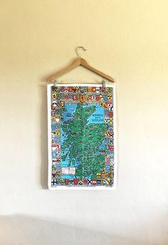 Vintage Scotland Linen Tea Towel by Ulster by SandHollowVintage