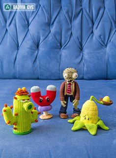 "My third Bundle of crochet patterns for my ""Plants vs. Zombies"" collection featuring Cactus, Magnet-shroom, Zombie and Kernel-pult! Follow me: Instagram -> AradiyaToys Facebook -> AradiyaToys..."