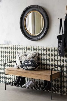 Simple and sophisticated, the Industrial-Style Iron & Wood Storage Bench is designed to transform your entrance hall with handy extra storage and no shortage of statement style! Industrial Style Furniture, Industrial Storage, Industrial Interiors, Industrial Bench, Iron Canopy Bed, Wood Storage Bench, Wooden Tops, Metal Shelves, Clever Design