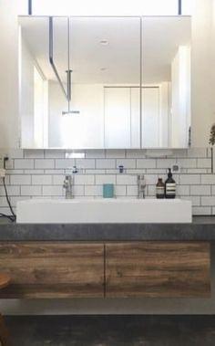 造作洗面台について2 アイカスタイリッシュカウンター | ため城 Double Vanity, Bathroom, House, Washroom, Home, Bath Room, Haus, Double Sink Vanity, Bath