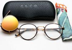 9cd894c96c Garrett Leight GLCO Wilson + Clip Eyeglasses - Bourbon Tortoise with Peach  Blaze Mirror Clip