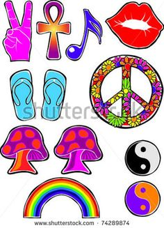 Photo Booth Props - Retro Happy Hippie Set #2 of Flower Power Groovy Icons Vector Illustration by ShEd Artworks, via Shutterstock
