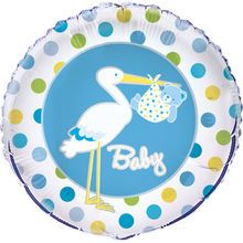 """Foil Blue Stork Baby Shower Balloon, 18"""""""