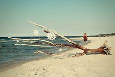 Ganchillo cool en la playa de Oak, en el Mar Báltico