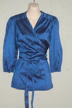 Calypso Christiane Celle Sz S Royal Blue 100% Silk Wrap Shirt Top 3/4 Sleeve