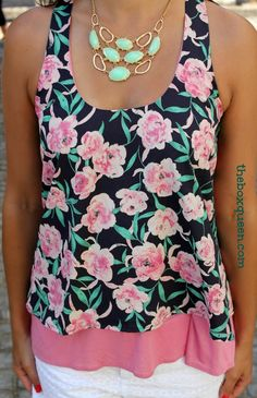 Like the floral print, tank style, underlay piece. STITCH FIX REVIEW AUGUST -2014 | The Box Queen #stitchfix
