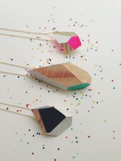 Geometric Handpainted Wooden Pendants by FlaneursPocket