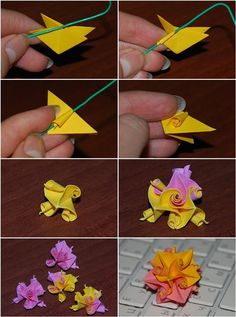 Kusudama Curl Flower Folding Instructions / Origami Instruction on imgfaveDIY Easy Origami Paper Craft Tutorials (Step by Step) - CraftCorner Bookmark with Kusudama Flower Dangle origami that's because just looking for some information on creating th Origami And Kirigami, Origami Ball, Origami Fish, Paper Crafts Origami, Origami Ideas, Oragami, Easy Origami Flower, Paper Quilling, Origami Modular