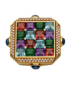 Carré brooch, 1987 Gold with aquamarines, amethysts, red and green tourmalines, sapphires, and diamonds Bulgari Jewelry, Gemstone Jewelry, Gold Jewelry, Vintage Jewelry, Wedding Jewelry, Jewelry Rings, 5 Carat Ring, Ring Verlobung, I Love Jewelry