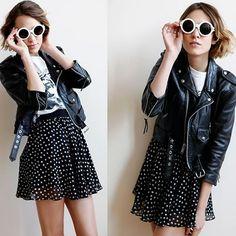 #stealthelook #look #looks #streetstyle #streetchic #moda #fashion #style #estilo #inspiration #clothes #roupas #50 #poá #AlexaChung #bolinha