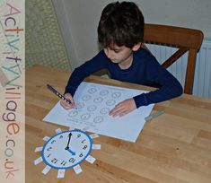 Using the teaching clock from Activity Village (with tags) while doing a worksheet Maths Resources, Activities, Teaching Clock, Activity Village, Charlotte Mason, Telling Time, Colouring Pages, Worksheets, Homeschool