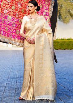 #golden #woven #kanjivaram #silk #saree #blouse #attractive #design #sareelove #new #arrivals #beautiful #indianwear #ootd #traditional #womenswear #online #shopping Kanjivaram Sarees, Indian Wear, Women Wear, Sari, Blouse, Beautiful, Shopping, Collection, Design