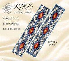Bead loom pattern for bracelet Oval fantasy ethnic inspired