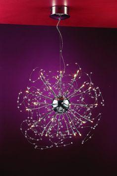 """Medusa Design 25-Light 26"""" Polished Chrome Crystal Hanging Pendant SKU* 10799"""