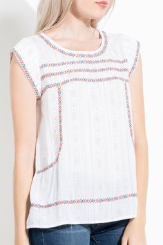 Printed Top With Embroidery - Longhorn Fashions