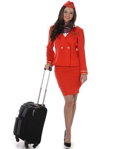 Red stewardess costume for women: Adults Costumes,and fancy dress costumes - Vegaoo Air Hostess Uniform, Hostess Outfits, Peplum Dress, Dress Up, Womens Ripped Jeans, Ladies Fancy Dress, Bridal Jumpsuit, Uniform Dress, Costume Collection
