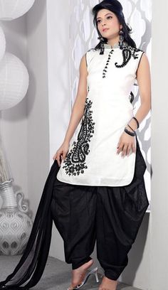 $108.19 White Sleeveless Chanderi Silk Short Length Punjabi Salwar Kameez 21377