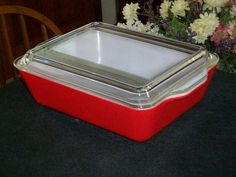 RARE Pyrex Red 503 Refrigerator Dish-Anybody know what the rest of this set consists of?