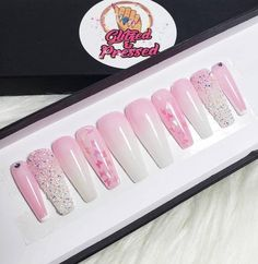 Your place to buy and sell all things handmade Bling Acrylic Nails, Sparkle Nails, Best Acrylic Nails, Glue On Nails, Bling Nails, Coffin Nails, Cute Spring Nails, Summer Nails, Almond Nails Designs