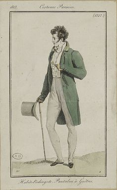 #7 The man depicted in this portrait is wearing a green frock coat popular in the Crinoline Period.