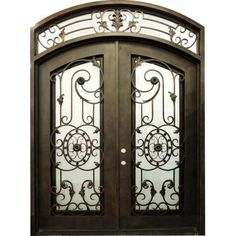 Copper Prehung Right-Hand Inswing Wrought Iron Double Arch Top Entry Door with Transom-TR127-1 at The Home Depot
