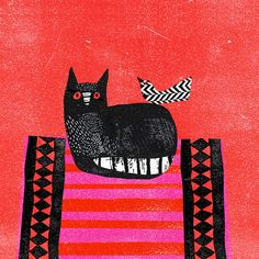 Black Cat, Red Mat Art Print by Madeleine McClellan at King & McGaw Framing Canvas Art, Contemporary Art Prints, Animal Art Prints, Cat Crafts, Cat Drawing, Cat Love, Crazy Cats, Cat Art, Pet Birds