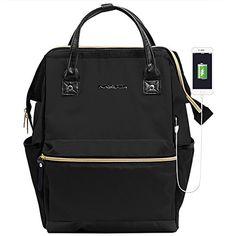 KROSER Laptop Backpack Daypack With USB Port/Water Repellent P.U. leather Nylon Briefcase Laptop Bag Business Bag Tablet for College/Travel/Business/Sports/Women/Men