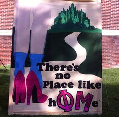 There is no place like home-themed Bid Day Alpha Epsilon Phi, Alpha Xi Delta, Phi Mu, Sorority Banner, Sorority Crafts, Bid Day Themes, Banners, Banner, Posters