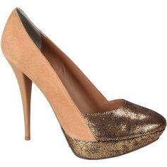#Scarpin Lilly's Closet Nude e Dourado #Shoes #Golden #Love