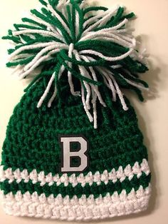 2ec15770eb3ff Boston Celtics Crochet Baby Beanie Pom Pom Hat NBA Basketball