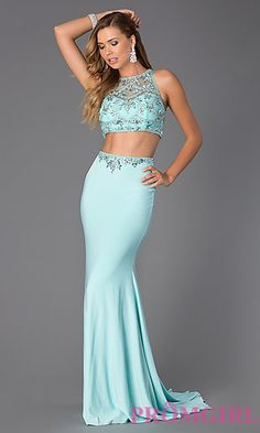 Floor Length Two Piece Jewel Embellished Prom Dress at PromGirl.com