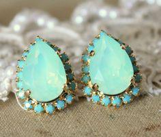Mint Crystal big teardrop stud earring - 14k plated gold post earrings real mint and turquoise swarovski rhinestones .. $43.00, via Etsy.
