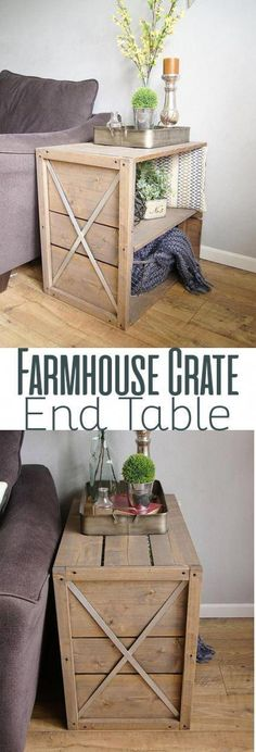 DIY Farmhouse Crate End Side Table Woodworking Plans. Learn how to make this f. DIY Farmhouse Crate End Side Table Woodworking Plans… Learn how to make this fun DIY end table, h Woodworking Projects That Sell, Easy Woodworking Projects, Woodworking Furniture, Wood Projects, Diy Furniture, Woodworking Plans, Woodworking Classes, Popular Woodworking, Furniture Plans