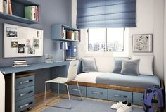 Traditional Kids Bedroom with Roman shades, Domitalia egel-b stacking chair, Built-in bookshelf, Laminate floors, Window seat